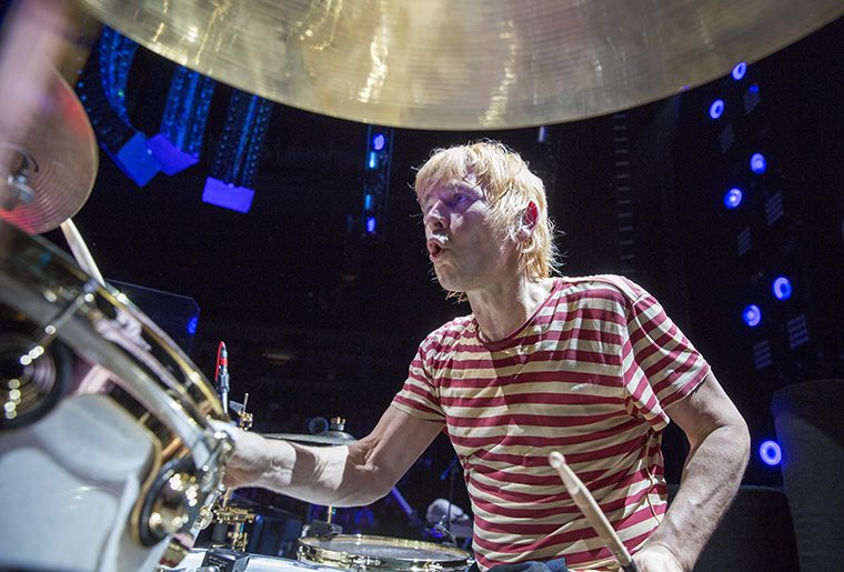 "Zak Starkey watches Pete Townshend during their performance of ""The Rock"". The Who Perform at Air Canada Arena in Toronto, Ontario Canada. March 1, 2016. It is also Roger Daltrey's 72 birthday."